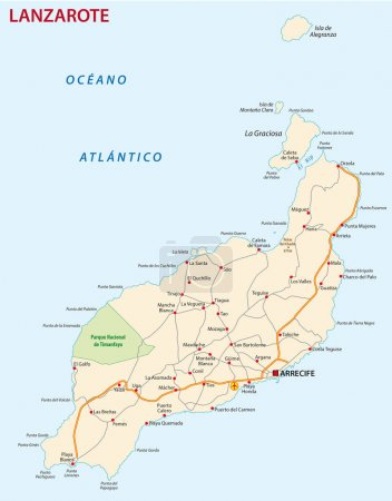 Road map of Canary Island Lanzarote