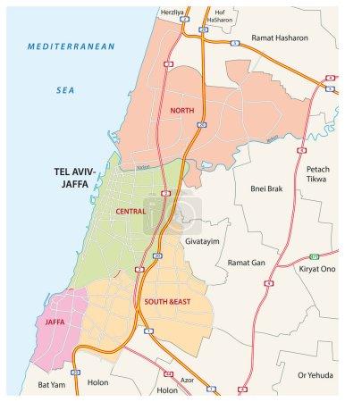 Carte administrative, routière et politique de la ville israélienne de Tel Aviv-Jaffa
