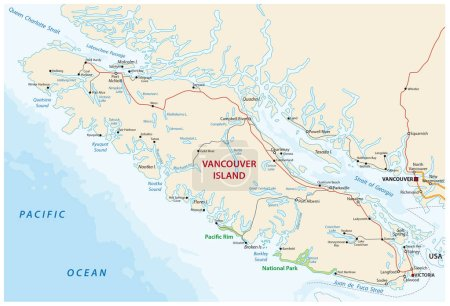 vector map of canada island Vancouver island