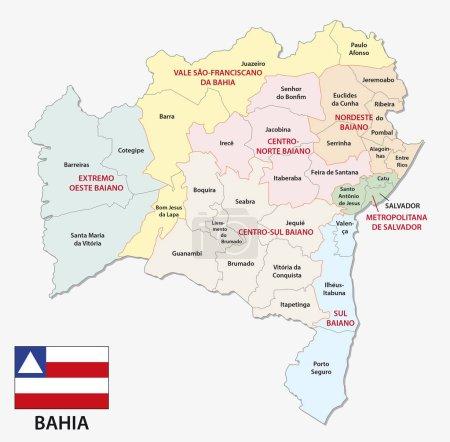 bahia carte administrative et politique avec drapeau