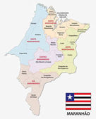 maranhao administrative and political map with flag
