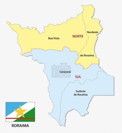 Roraima administrative and political map with flag...