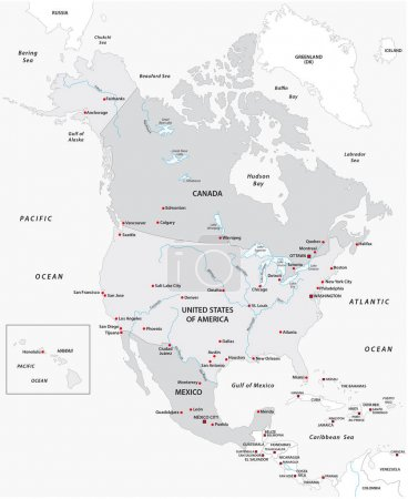 Map of North America in black and white