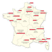 Map with the twenty clubs of the first French football league 2017- 2018