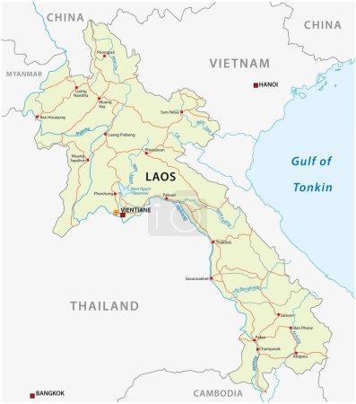 Road vector map of Lao People`s Democratic Republic