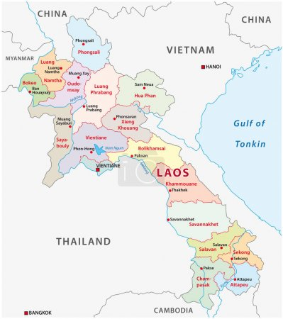 laos administrative and political vector map