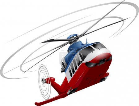 Helicopter on white background. BW