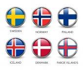 Set of scandinavian flags