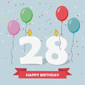 28 years celebration. Happy Birthday greeting card with candles, confetti and balloons.