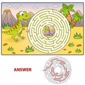 Help dinosaur find path to nest Labyrinth Maze game for kids