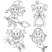 Set of cute fairytale girls Halloween witch mermaid princess and fairy