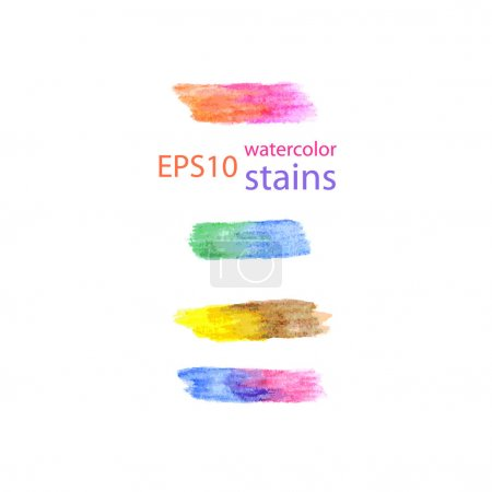 Rainbow watercolor stains set