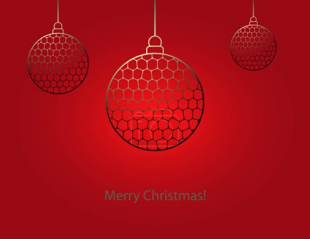 Illustration for Christmas balls in gold color on gradient red background. Vector illustration EPS10. - Royalty Free Image