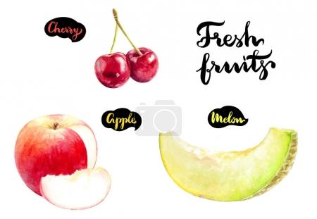 Melon, apple, cherry
