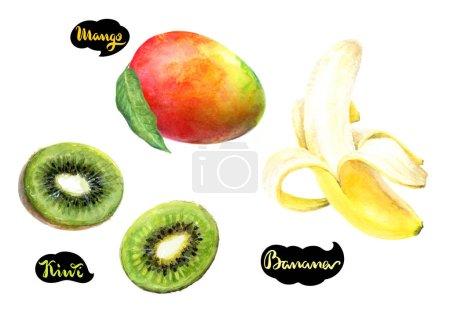 Kiwi, mango and banana