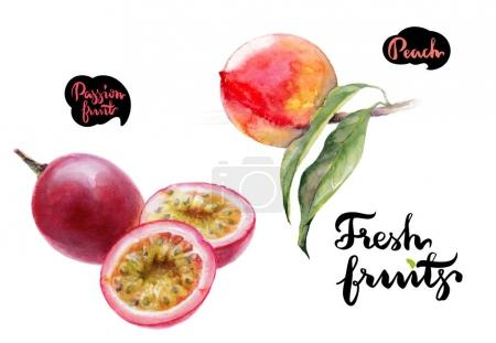 Peach and passion fruits