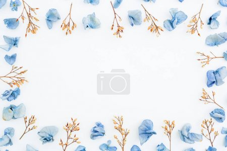 blue dried flower petals and twigs