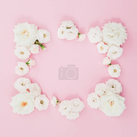 Floral composition with white roses on pink background