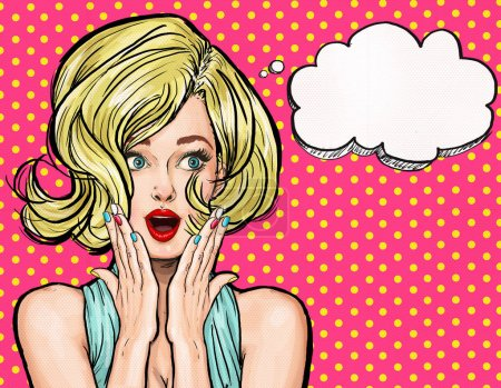 Photo pour Illustration Pop Art, fille surprise. Une star de cinéma. Une femme comique. Sexy, tête, visage, amour, valentines, joyeux, rétro, mode, Vente, discount, étonné, wow, oups, lèvres, wow, maquillage, merveille, commérages, idée - image libre de droit