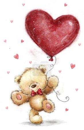 Ours mignon avec grand cœur rouge. Conception de l'amour. Être ma femme. Coeur de l'amour. Affiche de l'amour