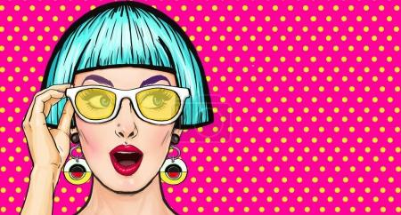Amazed Pop Art girl in glasses. Party invitation.Birthday card.Comic woman.Sexy girl. Sale. Vintage poster. Fashion woman, discount, buyer, disco, flirt, style, youth, wow, thought, excited, lifestyle