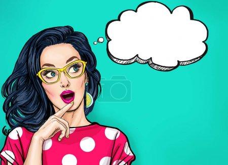 Photo pour La pensée jeune femme sexy à pleine bouche en levant sur la bulle vide. Fille de Pop Art est pensée et tenant la main près de la face - image libre de droit