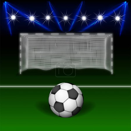 Soccer ball in front of the gate