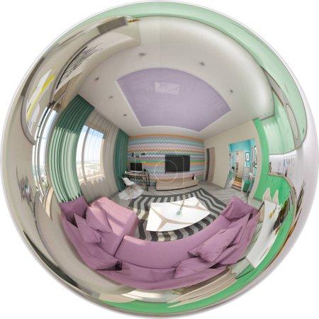 Render seamless panorama of living room interior