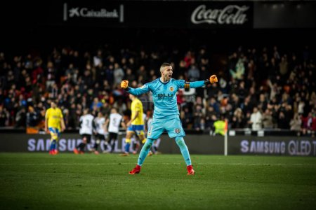 VALENCIA, SPAIN - JANUARY 9: Jaume celebrates a goal during Spanish King Cup match between Valencia CF and Las Palmas at Mestalla Stadium on january 9, 2018 in Valencia, Spain