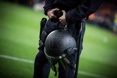 VALENCIA, SPAIN - JANUARY 9: UIP Spanish Police during Spanish King Cup match between Valencia CF and Las Palmas at Mestalla Stadium on january 9, 2018 in Valencia, Spain