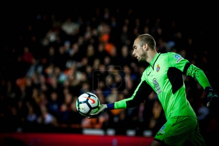 VALENCIA, SPAIN - APRIL 8: Pau Lopez during Spanish La Liga match between Valencia CF and RCD Espanyol at Mestalla Stadium on April 8, 2018 in Valencia, Spain