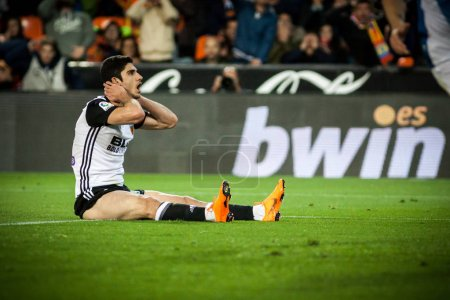 VALENCIA, SPAIN - APRIL 8: Guedes during Spanish La Liga match between Valencia CF and RCD Espanyol at Mestalla Stadium on April 8, 2018 in Valencia, Spain