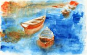 Watercolor boat on the lake