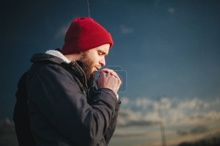 Hipster bearded man outdoor