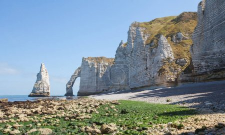 Beautiful coastline and alabaster cliff bay of Etretat, France