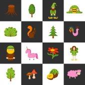 Vector illustration cartoon children magic forest objects