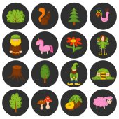 Vector illustration cartoon children magic forest objects