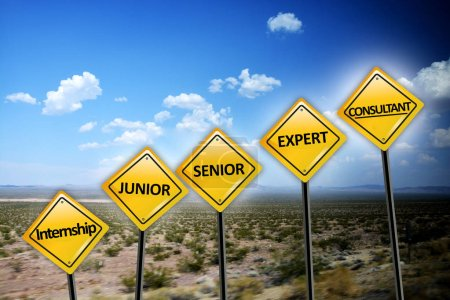 Career level concept with different stages of professional experience on yellow road signs on desert landscape