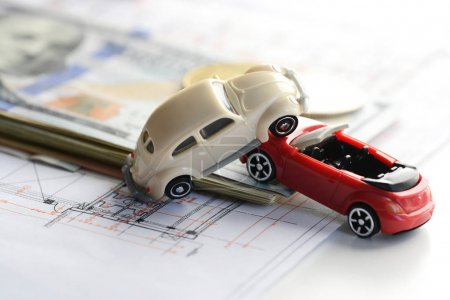 Cars accident damage, money and insurance policy contract