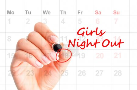 Girls Night Out  reminder on calendar