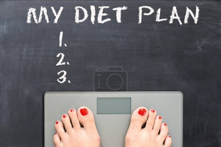 My diet plan on blackboard with woman feet on a weight scale