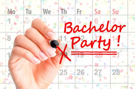 Bachelor party noted on calendar