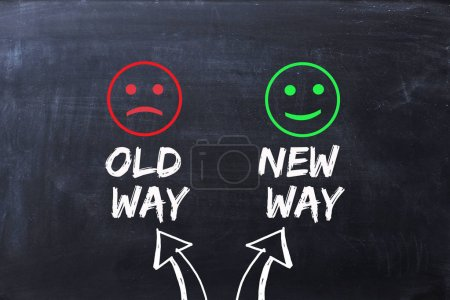 Photo for Difference between old way and new way, illustrated with happy and sad faces on blackboard - Royalty Free Image