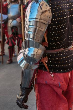 Medieval Metallic Armor for Arms exposed in Outdoor Historic Festival