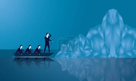 Illustration for Vector illustration. Business teamwork leadership challenge concept. Businessmen working in team. Group of people rowing boat together. Leader work with his team and thinking to lead his team conquering obstacle. Facing big iceberg as threat - Royalty Free Image