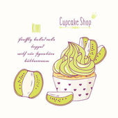 Hand drawn cupcake with doodle buttercream for pastry shop menu Kiwi flavor Vector illustration