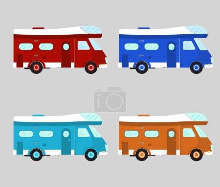 Camper car . Mobile home. Motorhome vector illustr...