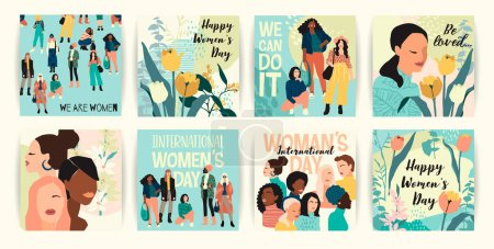 Vector set of illustrations with abstract women wi...