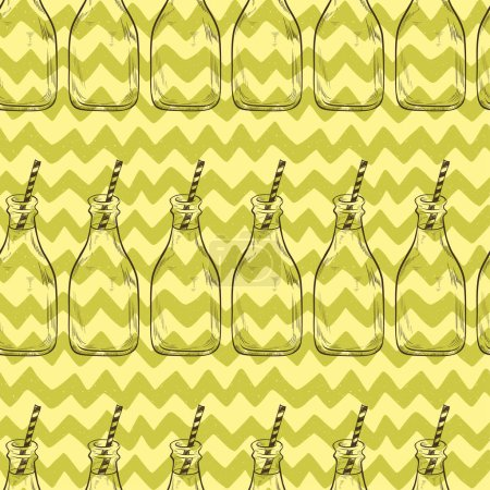 Illustration for Seamless pattern of bottles. Cold drinks and chevron tiling background. - Royalty Free Image