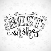 Best wishes lettering and decorative elements on white background